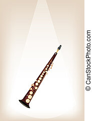 A Musical Soprano Saxophone on Brown Stage Background