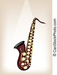 A Musical Tenor Saxophone on Brown Stage Background