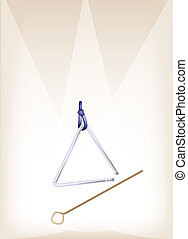 A Musical Triangle on Brown Stage Background