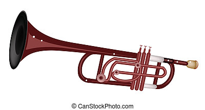 A Musical Trumpet Isolated on White Background