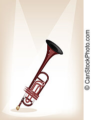A Musical Trumpet on Brown Stage Background