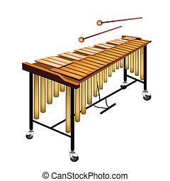 A Musical Vibraphone Isolated on White Background - Music...