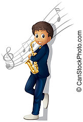 A musician holding a saxophone with musical notes -...