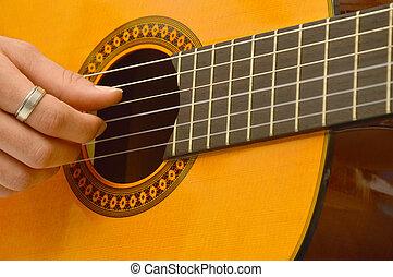 A musician in the classical guitar