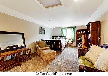 A musician man bedroom with carpet floor, beige walls