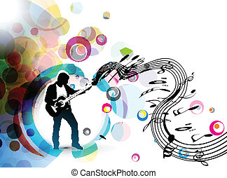 A musician man playing a guitar with musical notes background.