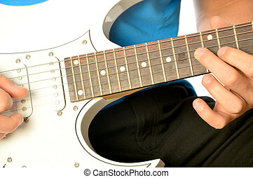 A musician on electric guitar