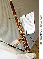 bassoon - A musician  plays on a bassoon