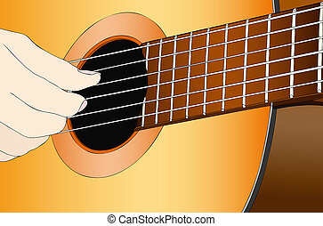 A musician with the classical guitar