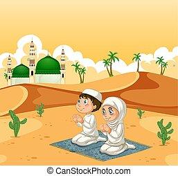 A muslim couple at desert