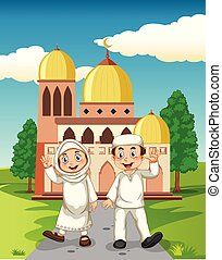 A muslim couple in front of the mosque