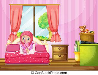 A muslim girl in bedroom