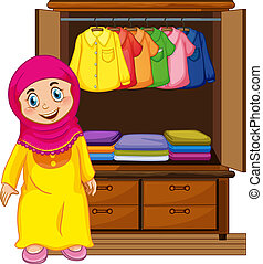 A muslim girl in front of closet