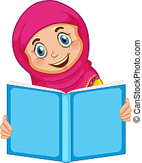 A muslim girl reading a book