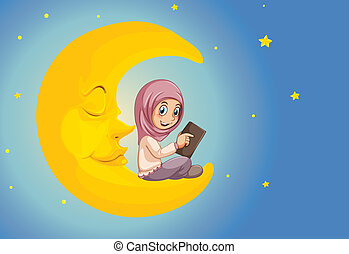 A muslim girl reading on the moon