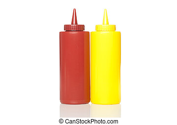 A mustard and ketchup bottle
