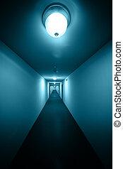 a, mycket, länge, korridor, vid ängel, utsikt.
