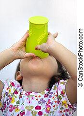 a, mycket, törstig, barn