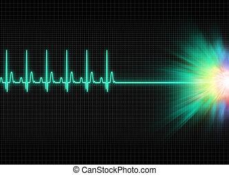 exitus - a mystic electrocardiography exitus illustration in...
