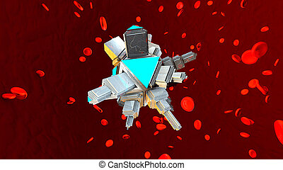 A Nano Bot in the human blood stream - 3D rendered...
