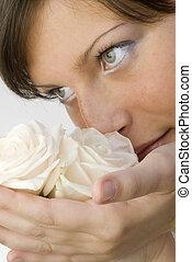 a, nariz, e, rosas