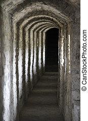 narrow corridor of an old historic castle