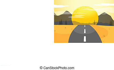 A narrow road and a sunset view