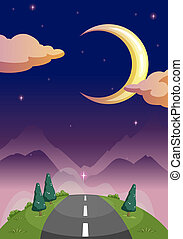 A narrow road and the starry night