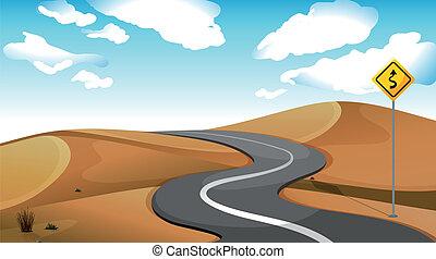 A narrow road at the desert - Illustration of a narrow road...