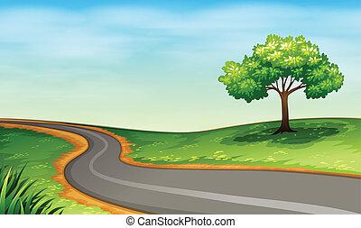 A narrow road - Illustration of a narrow road