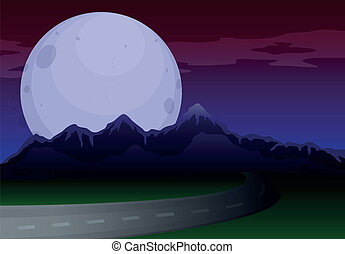 A narrow road under a full moon - Illustration of a narrow...