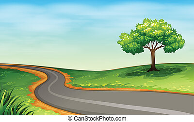 A narrow road - Illustration of a narrow road