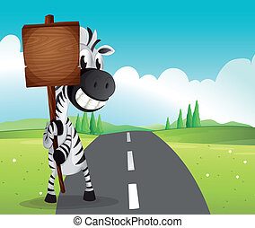 A narrow road with a zebra holding an empty signboard -...