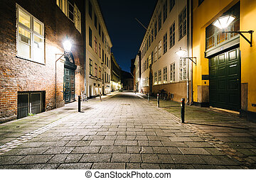A narrow street at night, in Copenhagen, Denmark.