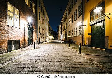 A narrow street at night, in Copenhagen, Denmark.