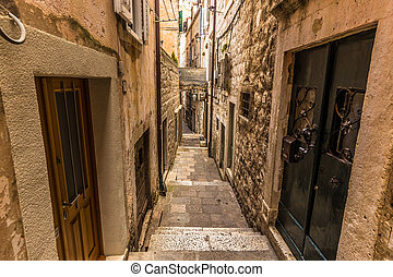 A narrow street in the old town of Dubrovnik, Croatia