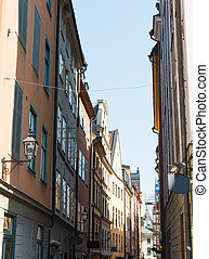 a narrow Swedish street in Stockholm