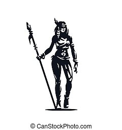 A Native American woman with a spear in her hands.