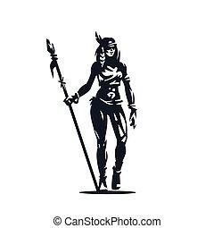 Native American woman - A Native American woman with a spear...