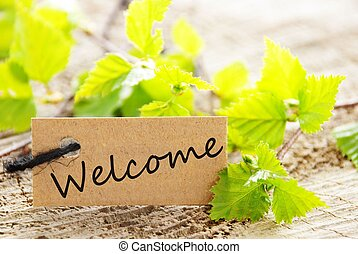 label with welcome - a natural looking label with welcome...