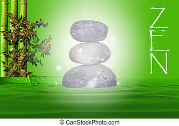 natural pebbles magic stacked zen way on a green background with bamboo and foliage on a bed of water