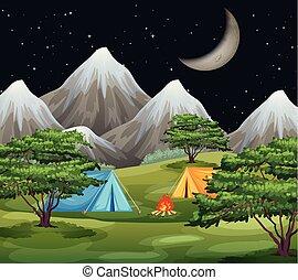 A nature campsite landscape
