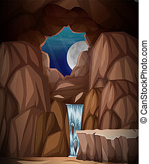 A nature cave landscape