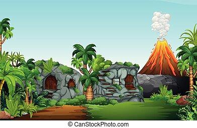 A nature prehistoric scene