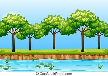 A nature river landscape