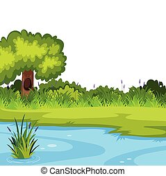 A nature river template