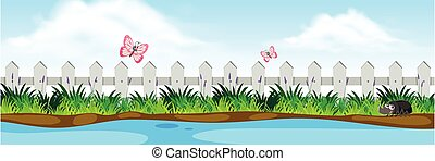 A nature riverside view illustration