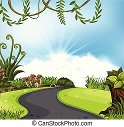 a, nature, route, paysage