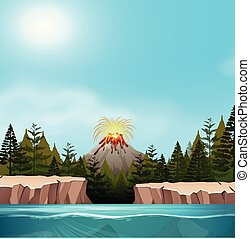 A nature volcano landscape