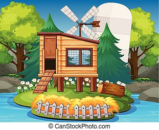A nature wooden house illustration